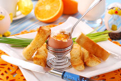 Breakfast with soft-boiled egg Royalty Free Stock Image