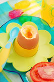 Breakfast with soft boiled egg for child Royalty Free Stock Photo