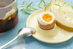 Breakfast soft boiled egg Royalty Free Stock Images