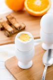 Breakfast with soft boiled eggs and toast soldiers Royalty Free Stock Photography