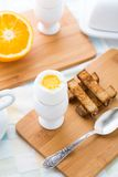 Breakfast with soft boiled eggs and toast soldiers Stock Image