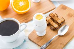 Breakfast with soft boiled eggs and toast soldiers Royalty Free Stock Photo