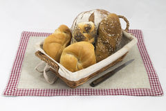 Breakfast. Some pieces of bread and a knife Royalty Free Stock Photography