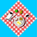 Breakfast still-life top view vector illustration. Stock Photography