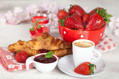 Breakfast with strawberries Stock Photography