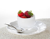 Breakfast of strawberries in glass dish Royalty Free Stock Photo