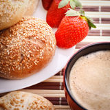 Breakfast with strawberry Royalty Free Stock Photos