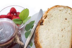 Breakfast with strawberry jam. Royalty Free Stock Photography