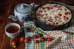 Breakfast with strawberry pie, black tea and berries Royalty Free Stock Photography
