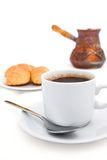 Breakfast with strong coffee in Turkish. On the white background Stock Photos