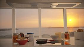 Breakfast with sunset Stock Image