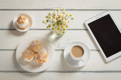 Breakfast surfing the Internet Stock Photography