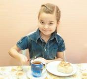 Breakfast with sweet bun Stock Photo