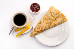 Breakfast with sweet crepe and coffee on white Royalty Free Stock Photo