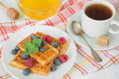 Breakfast with sweet waffles and coffee. Delicious breakfast with sweet waffles, raspberries, blueberries and a cup of coffee on a checkered napkin royalty free stock image