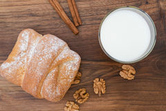 Breakfast - sweet walnut bun with glass of milk Royalty Free Stock Photo