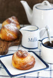 Breakfast with Sweet Yeast Roll Buns Stock Image