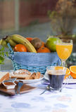 Breakfast in the table. Breakfast at the table with coffee and sweet pastries Stock Photo