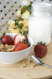 Breakfast on table. Cereal with strawberry for breakfast put on the table Stock Photo