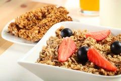 Breakfast Table. Table Breakfast - Continental Breakfast, fruit, cereals, orange juice and milk Royalty Free Stock Photography
