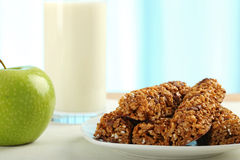 Breakfast Table. Table Breakfast - Continental Breakfast, apple, cereals and milk Stock Images