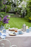 Breakfast Table In Backyard Royalty Free Stock Photos