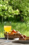 Breakfast table with cake muffins and orange juice in the field Royalty Free Stock Photo