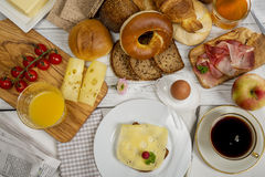 Breakfast table with Cheese bread, coffee, egg, ham and jam Stock Image