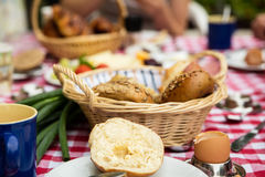 Breakfast table with cheese Royalty Free Stock Photo