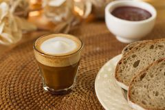 Coffee, milk and bread Royalty Free Stock Photo