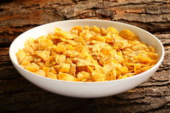 Breakfast table-Corn flakes bowl Royalty Free Stock Images
