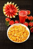 Breakfast table-Corn flakes and fresh juices. Stock Image
