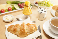 Breakfast table with croissant Royalty Free Stock Photography