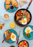 Breakfast table with different healthy food, top view Royalty Free Stock Photography