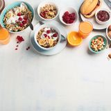 Breakfast table. Healthy breakfast ingredients. Top view with copy space royalty free stock photography