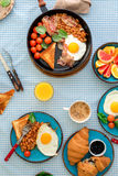 Breakfast table with healthy food, top view Royalty Free Stock Photo