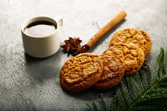 Breakfast table- hot coffee with cookies royalty free stock image