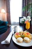 Breakfast table at hotel Royalty Free Stock Photos