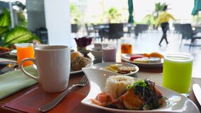 Breakfast at Hotel - Coffee, Fresh Pastry, Grilled Salmon, Fruits, Orange Juice