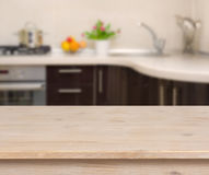 Breakfast table on kitchen interior background stock images
