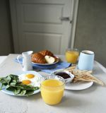 Breakfast. side view. morning routine royalty free stock photos