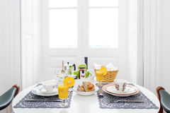 Breakfast table. Luxury breakfast table for two Royalty Free Stock Images