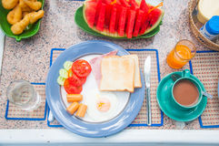 Breakfast table many food ,fresh fruits royalty free stock images