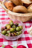 Breakfast table with mixed olives Royalty Free Stock Image