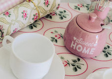 Breakfast table. With napkins and sugar bowl Stock Photo