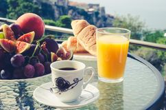 Breakfast table outdoors royalty free stock images