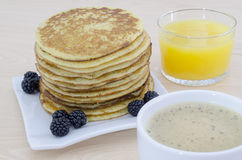 Breakfast table with pancakes Royalty Free Stock Photo