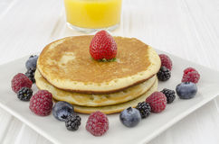 Breakfast table with pancakes Stock Photography