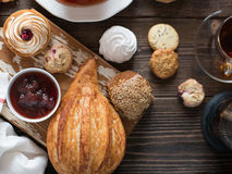 Breakfast table with pastries Royalty Free Stock Images