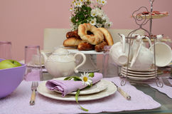 Breakfast table with pastry Stock Photography